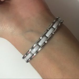 Jewelry - white ceramic and stainless steel link bracelet